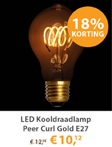 LED Kooldraadlamp Peer Curl Gold E27 4W